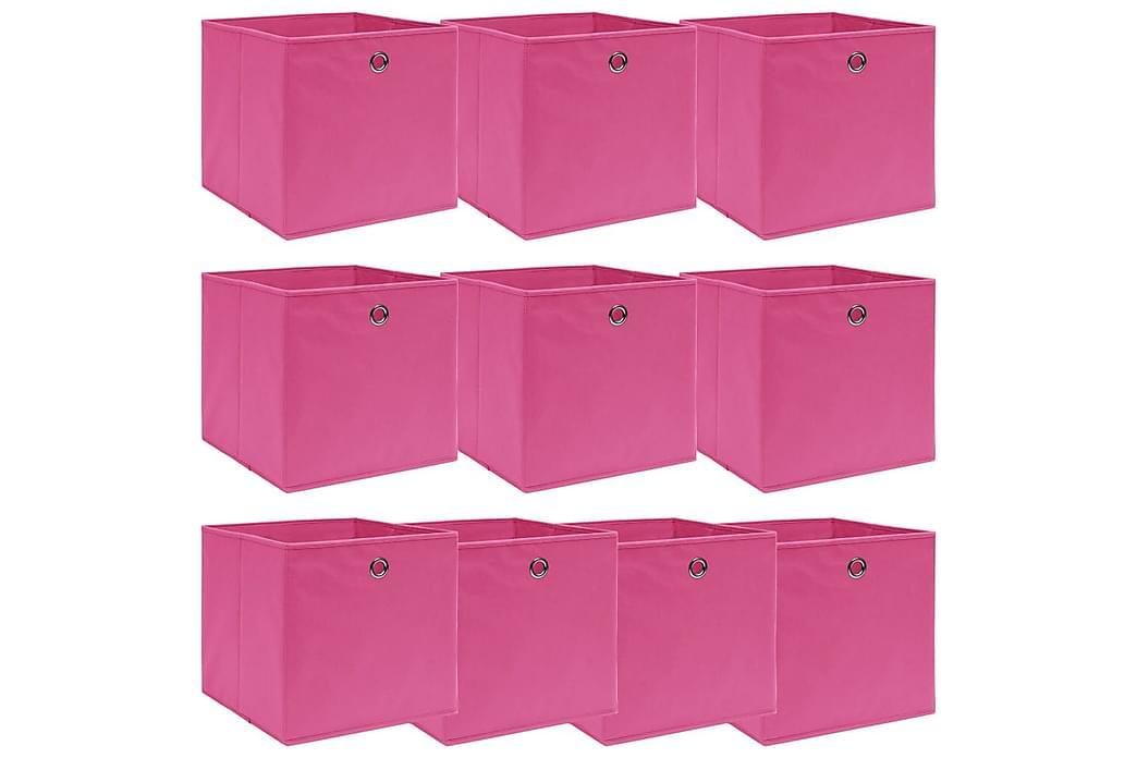 Oppbevaringsbokser 10 stk rosa 32x32x32 cm stoff - Innredning - Kurver & bokser - Kasser