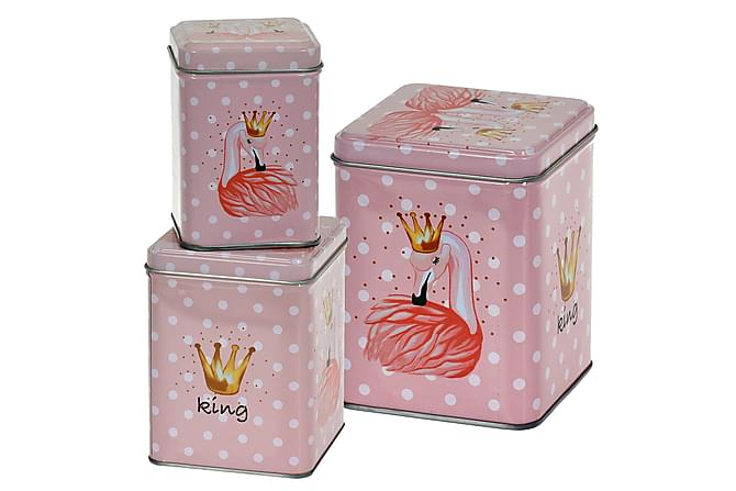 Leandre Boks Flamingo Firkantet Prikket Sett med 3 - Rosa - Innredning - Kurver & bokser - Oppbevaring til småting