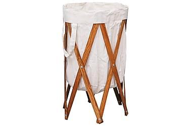 Sammenleggbar skittentøyskurv kremhvit tre og stoff