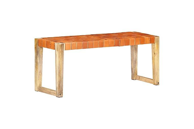 Benk 110 cm brun ekte lær og heltre mango - Brun - Innredning - Små møbler - Benk