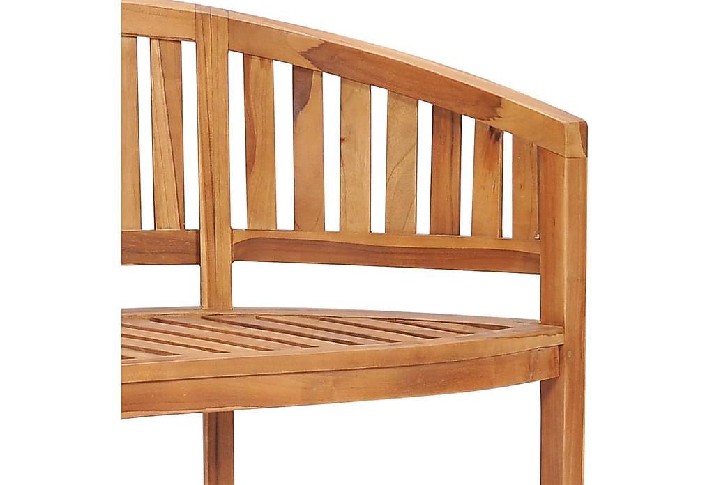 Benk bananformet 120 cm heltre teak - Innredning - Små møbler - Benk