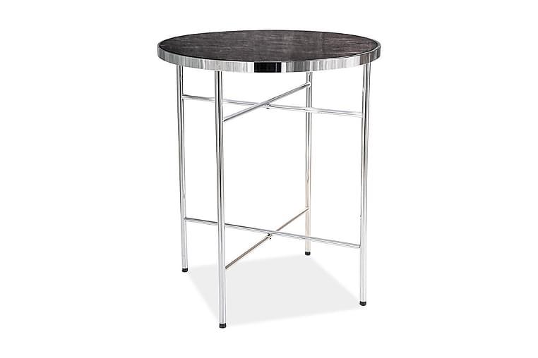 Eularia Sidebord 42 cm Rundt - Glass/Svart/Sølv - Innredning - Små møbler - Brettbord og småbord
