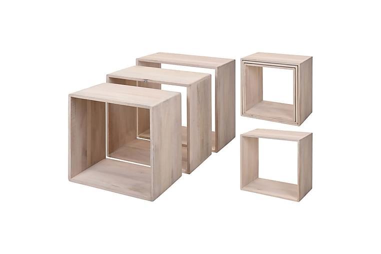 Home&Styling Sidebordsett 3 stk mangotre hvitvasket - Innredning - Små møbler - Brettbord og småbord