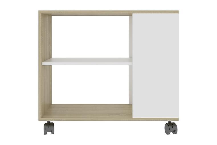 Sidebord hvit og sonoma eik 70x35x55 cm sponplate - Beige - Innredning - Små møbler - Brettbord og småbord
