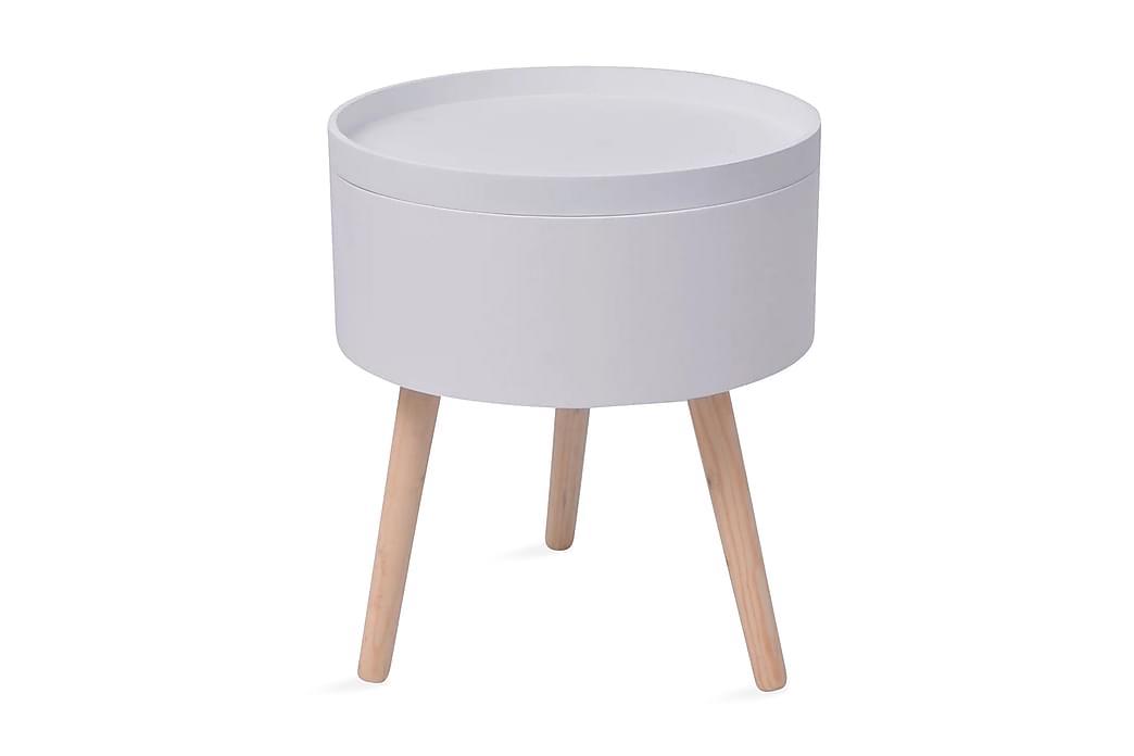 Sidebord med Serveringsbrett Rundt 39,5x44,5 cm Hvit - Hvit/Furu - Innredning - Små møbler - Brett bord og små bord