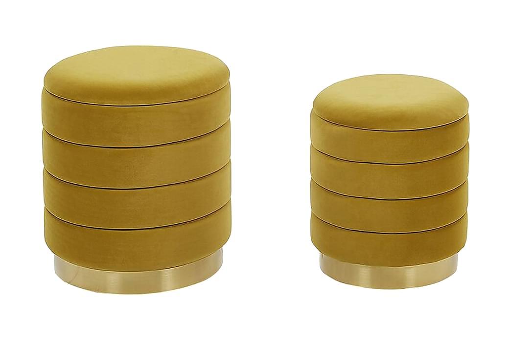 Lerbodatorp Fotskammel med Oppbevaring 2-pk - Gul - Innredning - Små møbler - Puff