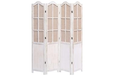 Romdeler 4 paneler hvit 140x165 cm stoff