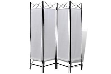 Romdeler 4 paneler hvit 160x180 cm