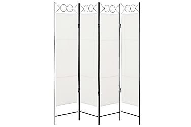 Romdeler 4 paneler hvit 160x180 cm stoff