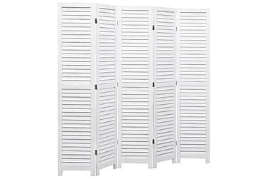 Romdeler 5 paneler hvit 175x165 cm tre