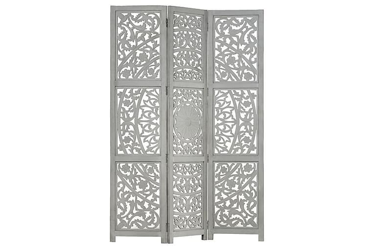 Romdeler håndskåret 3 paneler grå 120x165 cm heltre mango - Innredning - Små møbler - Romdelere