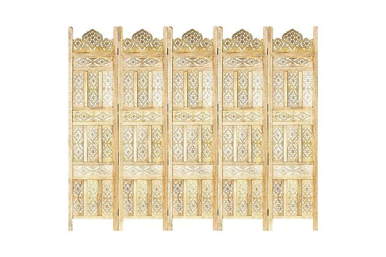 Romdeler håndskåret 5 paneler hvit 200x165 cm heltre mango - Innredning - Små møbler - Romdelere