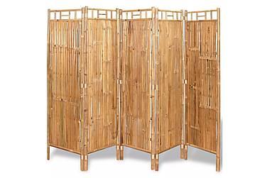 Romdeler med 5 paneler bambus 200x160 cm