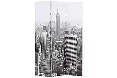 Romdeler 120x180 cm New York dagtid svart og hvit