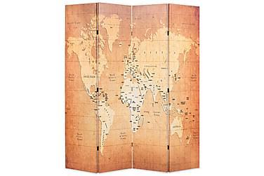Romdeler 160x180 cm verdenskart gul