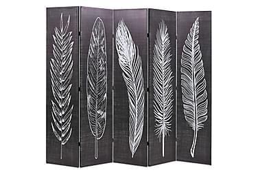 Romdeler 200x180 cm fjær svart og hvit