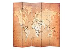Romdeler 200x180 cm verdenskart gul