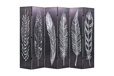 Romdeler 228x180 cm fjær svart og hvit