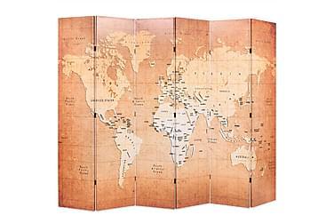 Romdeler 228x180 cm verdenskart gul