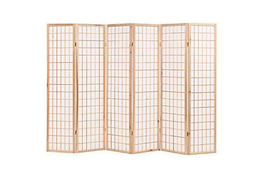 Sammenleggbar romdeler 6 paneler japansk stil 240x170 cm nat