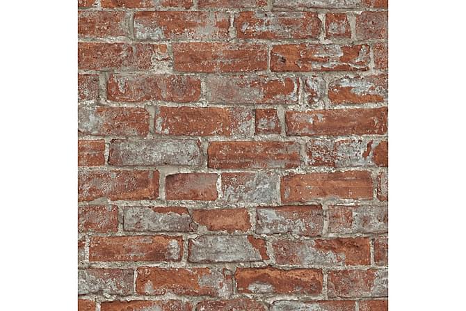 Veggtapetruller 2 stk brun og rød 0,53x10 m murstein - Innredning - Tapeter