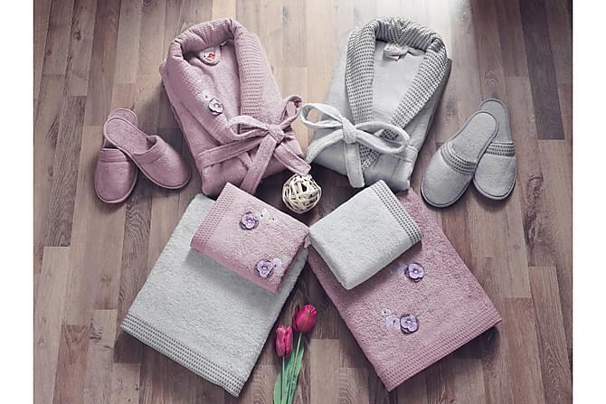Cotton Box Håndklesett Familie Sett med 4 - Plomme/Grå - Innredning - Tekstiler - Baderomstekstiler