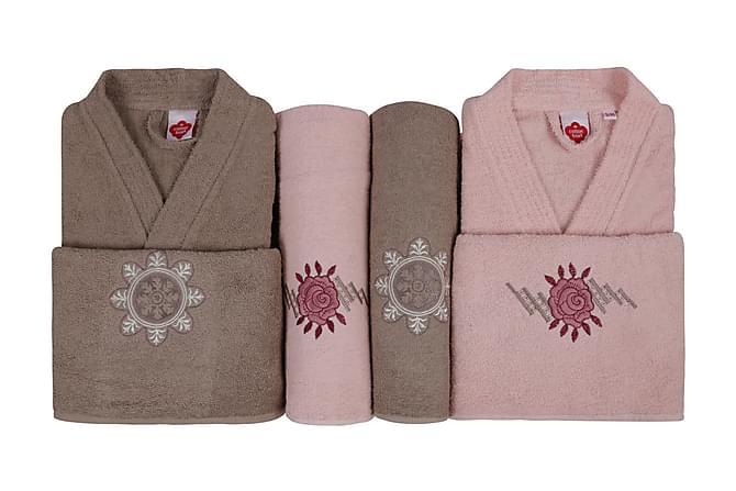 Cotton Box Håndklesett Familie Sett med 4 - Rosa/Beige - Innredning - Tekstiler - Baderomstekstiler