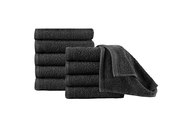 Gjestehåndklær 10 stk bomull 450 g/m² 30x50 cm svart - Innredning - Tekstiler - Baderomstekstiler