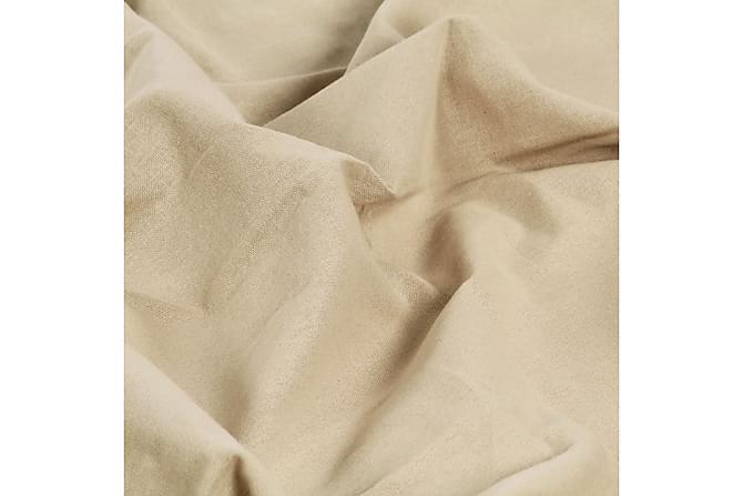 Gardiner med metallringer 2 stk bomull 140x175 cm beige - Innredning - Tekstiler - Gardiner