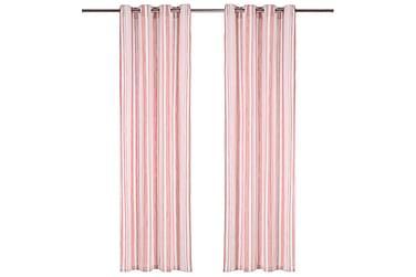 Gardiner med metallringer 2 stk bomull 140x175 cm rosa strip
