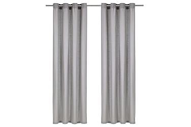 Gardiner med metallringer 2 stk bomull 140x225 cm grå