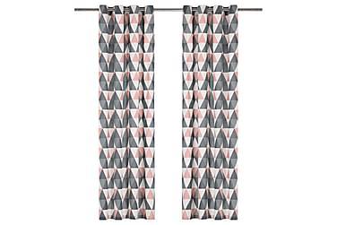 Gardiner med metallringer 2 stk bomull 140x245 cm grå og ros