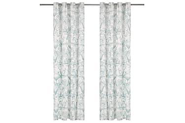 Gardiner med metallringer 2 stk bomull 140x245cm grønn bloms
