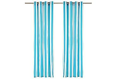 Gardiner med metallringer 2 stk stoff 140x175 cm blå striper