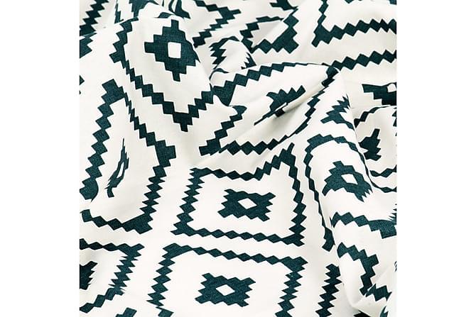 Gardiner med metallringer 2stk bomull 140x245cm grønn firkan - Innredning - Tekstiler - Gardiner