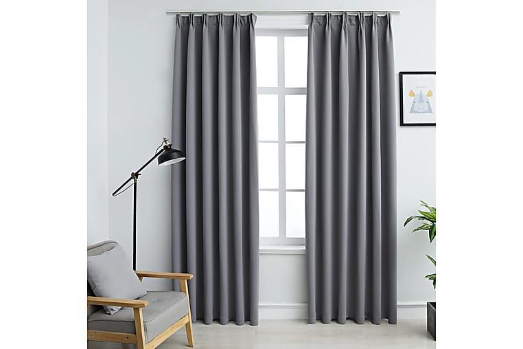 Lystette gardiner med kroker 2 stk grå 140x175 cm - Innredning - Tekstiler - Gardiner