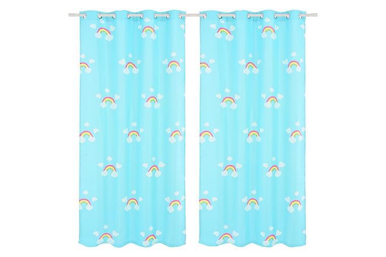 Lystette gardiner til barnerom 2 stk 140x240 cm regnbue blå - Innredning - Tekstiler - Gardiner