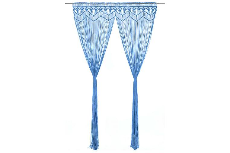 Makramé gardin blå 140x240 cm bomull - Blå - Innredning - Tekstiler - Gardiner