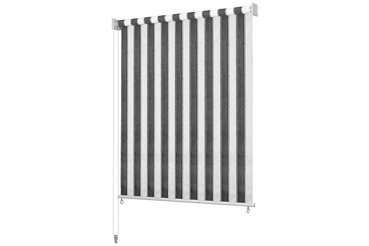 Utendørs rullegardin 120X140 cm antrasitt og hvit stripe - Antrasitt/Hvit - Innredning - Tekstiler - Gardiner