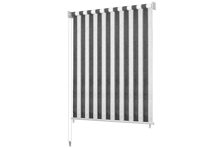 Utendørs rullegardin 140X140 cm antrasitt og hvit stripe - Antrasitt/Hvit - Innredning - Tekstiler - Gardiner