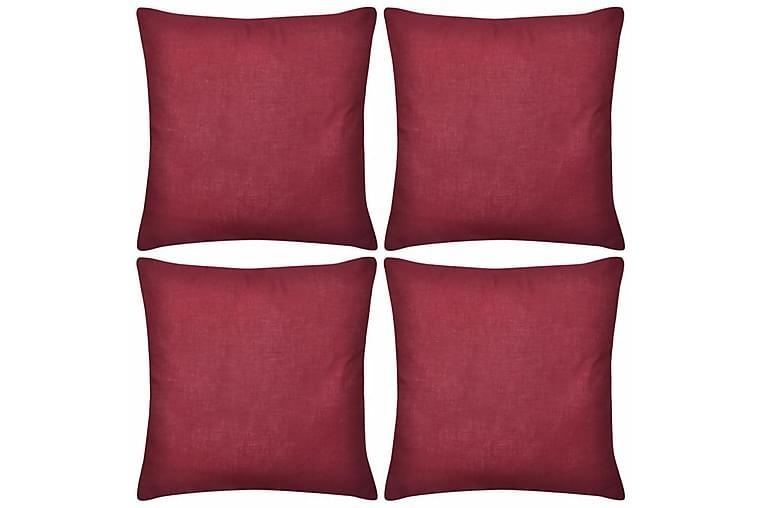 4 Burgunder putetrekk, bomull 50 x 50 cm - Vinrød - Innredning - Tekstiler - Putetrekk