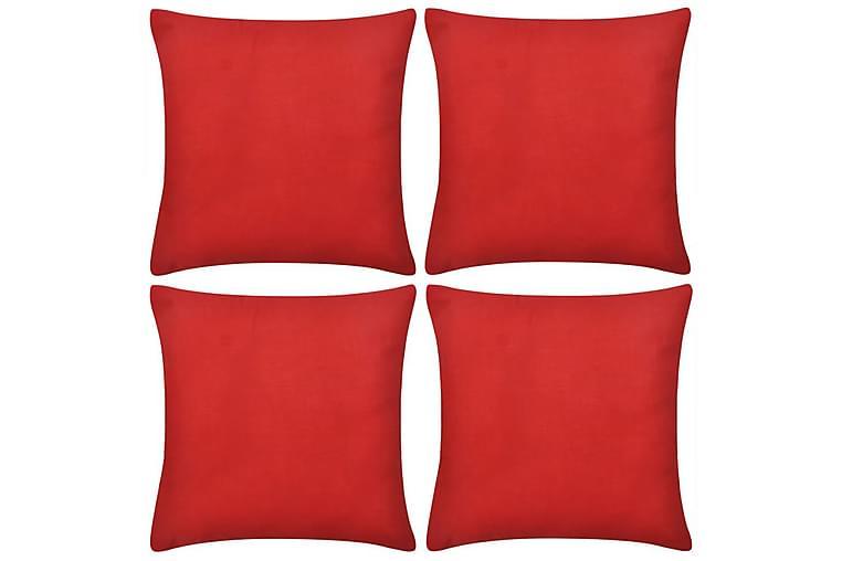 4 Røde putetrekk, bomull 40 x 40 cm - Rød - Innredning - Tekstiler - Putetrekk