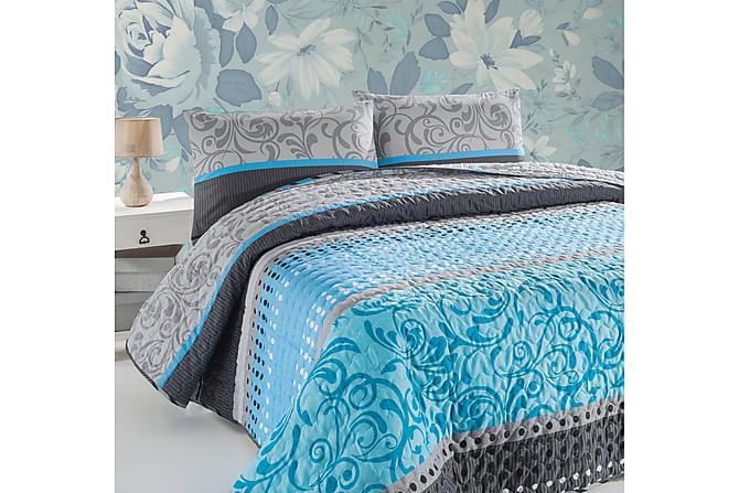Eponj Home Sengeteppe Dobbelt 200x220+2 Putetrekk Quiltet - Grå/Turkis/Hvit/Svart - Innredning - Tekstiler - Putetrekk