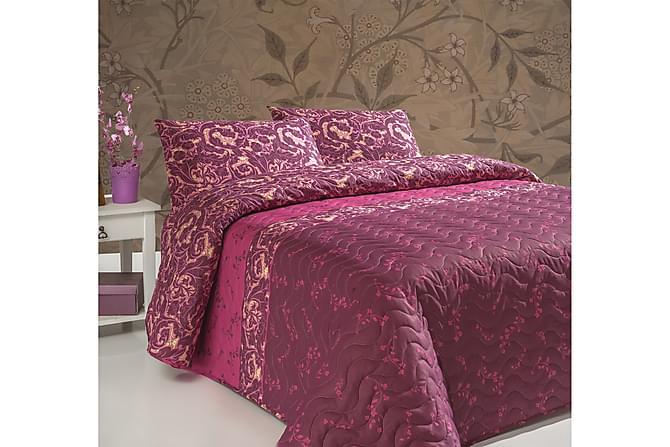 Eponj Home Sengeteppe Dobbelt 200x220+2 Putetrekk Quiltet - Rød/Rosa/Senap - Innredning - Tekstiler - Putetrekk