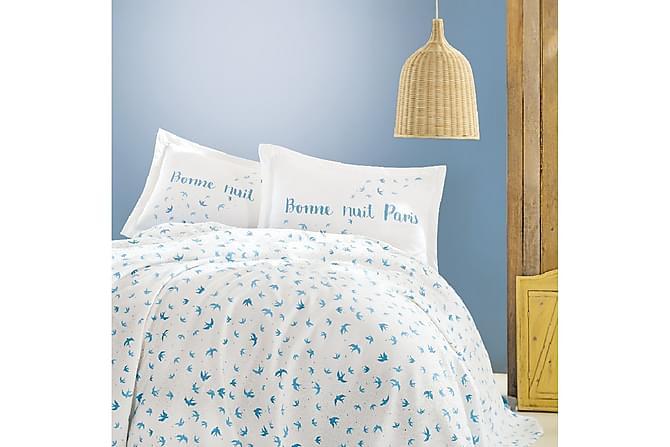 Marie Claire Sengeteppe Dobbelt 220x240+Laken+2 Putetrekk - Hvit/Blå - Innredning - Tekstiler - Putetrekk