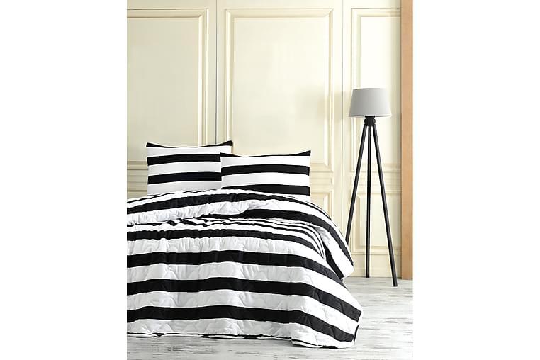 EnLora Home Sengeteppe Dobbelt 200x220+2 Putetrekk Quiltet - Svart/Hvit - Innredning - Tekstiler - Sengetøy