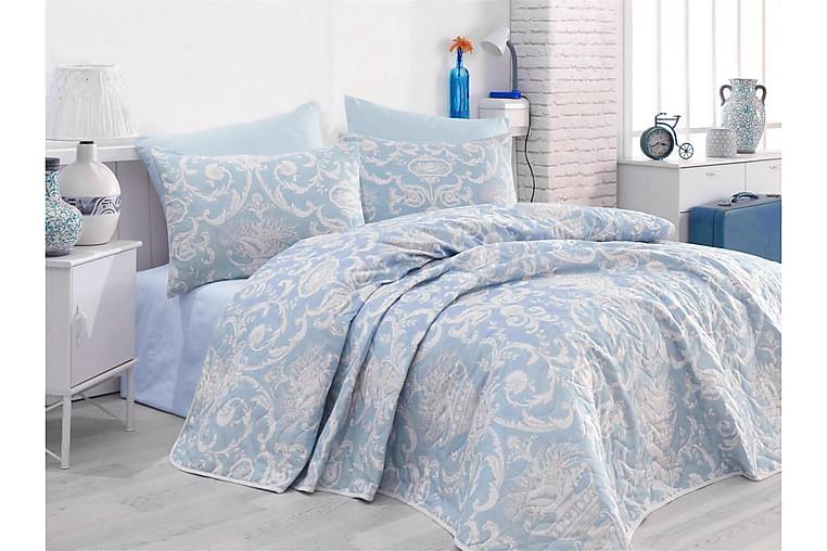 EnLora Home Sengeteppe Enkelt 160x220+Putetrekk Quiltet - Blå - Innredning - Tekstiler - Sengetøy