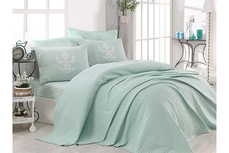 EnLora Home Sengeteppe Enkelt 160x235+Laken+Putetrekk - Grønn - Innredning - Tekstiler - Sengetøy