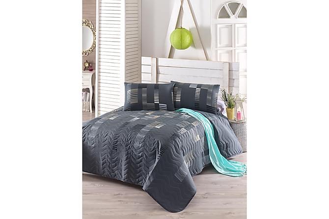 Eponj Home Sengeteppe Dobbelt 200x220+2 Putetrekk Quiltet - Antrasitt/Svart/Hvit - Innredning - Tekstiler - Putetrekk