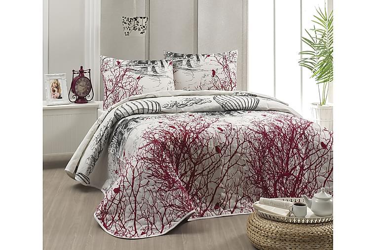Eponj Home Sengeteppe Dobbelt 200x220+2 Putetrekk Quiltet - Hvit/Rød/Grå/Svart - Innredning - Tekstiler - Sengetøy